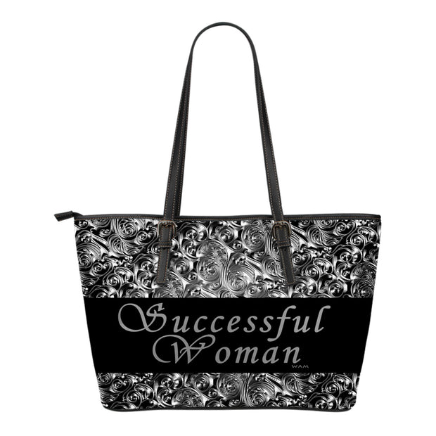 Successful woman silver and black small leather tote bag