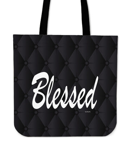 BLESSED black fachion tote bag