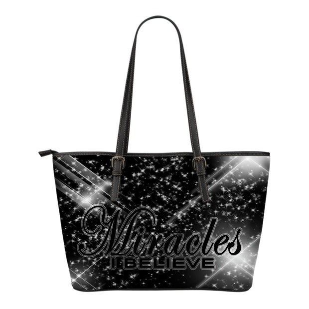 Miracles I believe glory small leather tote
