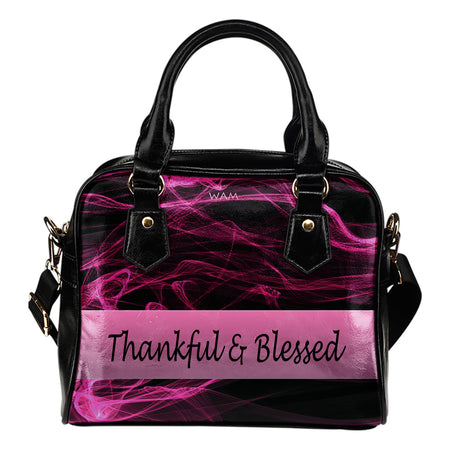 Thankful and blessed purple wave leather shoulder handbag