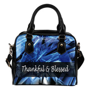 Thankful and Blessed fashion blue leather shoulder handbag