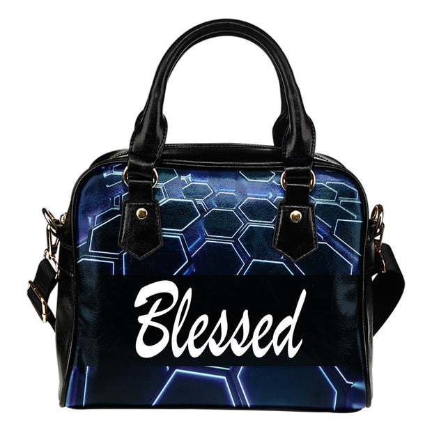 Blessed blue and black leather shoulder handbag
