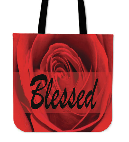 Blessed red flower tote bag