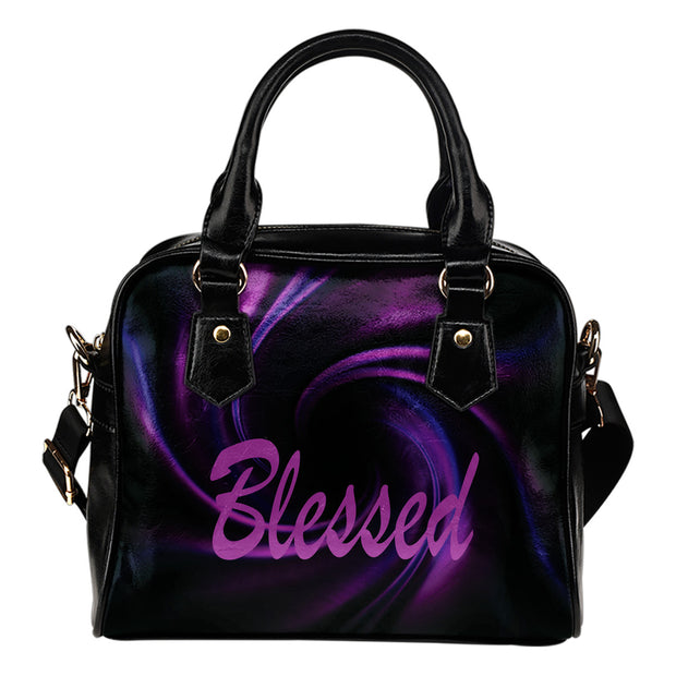 Blessed purple flower leather shoulder handbag