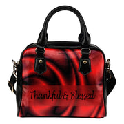 Thankful and Blessed red flower leather shoulder hanbag
