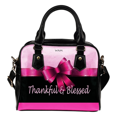 Thankful and Blessed pink gift leather shoulder handbag