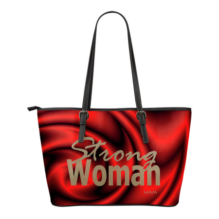 strong woman gold and red small leather tote bag