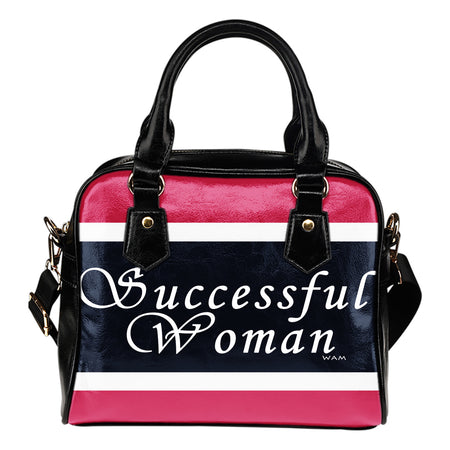 Successful woman blue, pink, white shoulder handbag