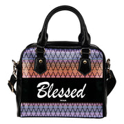 Blessed orange and purple leather shoulder handbag