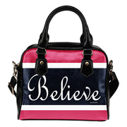 Believe blue, pink, white shoulder handbag