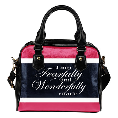 I am wonderfully made pink! leather shoulder handbag