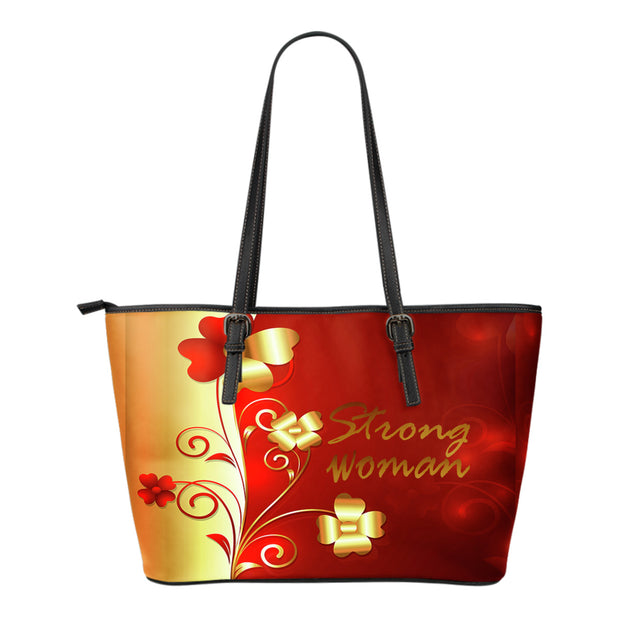 FREE SHIPPING! flower gold and red strong woman small leather tote bag