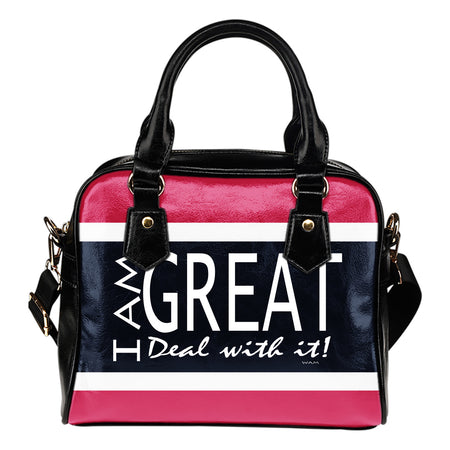 I am Great pink, blue and white shoulder handbag