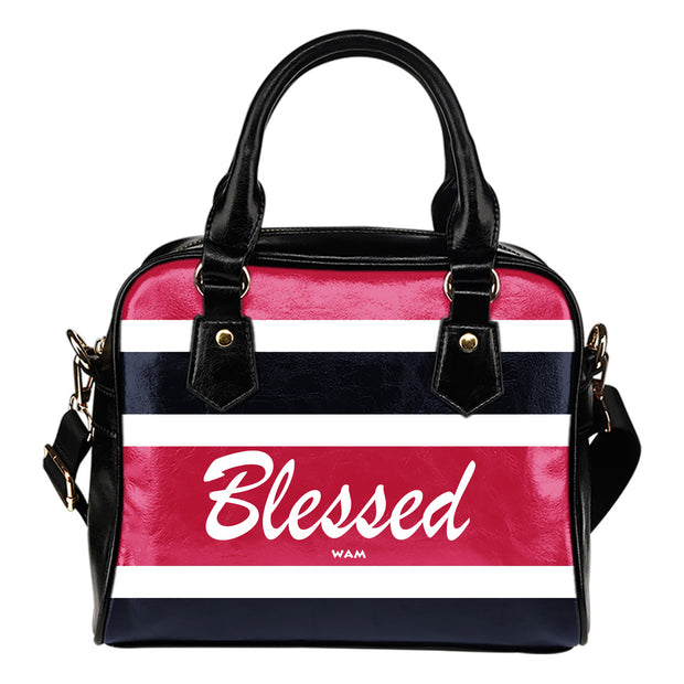 Blessed blue, pink, white and black leather shoulder handbag