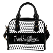 Thankful and Blessed moroccan black and white leather shoulder handbag