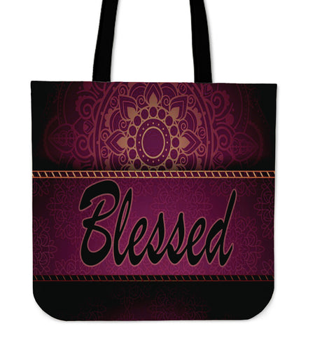 Blessed gold dark puple and black tote bag