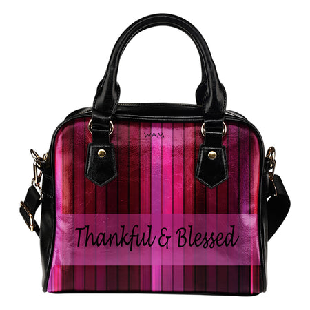 Thankful and blessed multi pink leather shoulder handbag