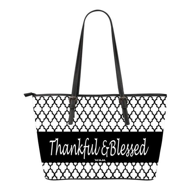 FREE SHIPPING! Thankful and blessed  small leather tote bag