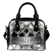 Thankful and blessed silver square leather shoulder handbag