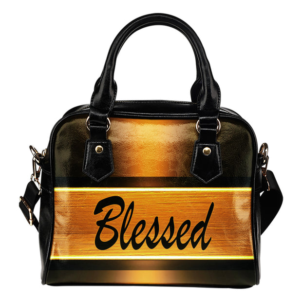 Blessed gold leather shoulder handbag