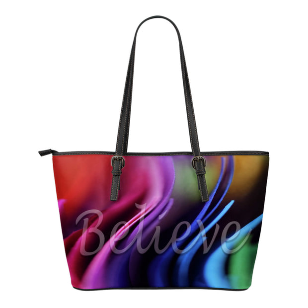 Believe multi colors small leather tote bag