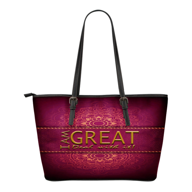 I am great! Maroon Small leather tote bag