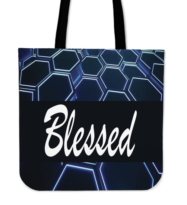 Blessed blue and black tote back