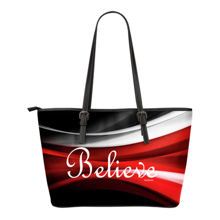 Believe red, white, black small leather tote bag