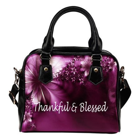 Thankful and blessed purple flower leather shoulder handbag