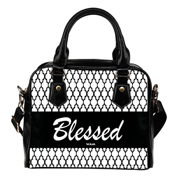 Blessed black moroccan design leather shoulder handbag