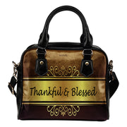 Thankful and Blessed gold and brown leather shoulder handbag