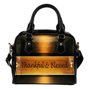 Thankful and blessed gold leather shoulder handbag