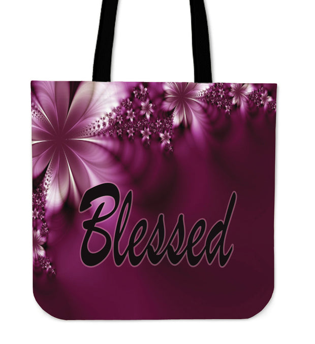Blessed purple flower tote bag