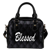 Blessed black fashion leather shoulder handbag