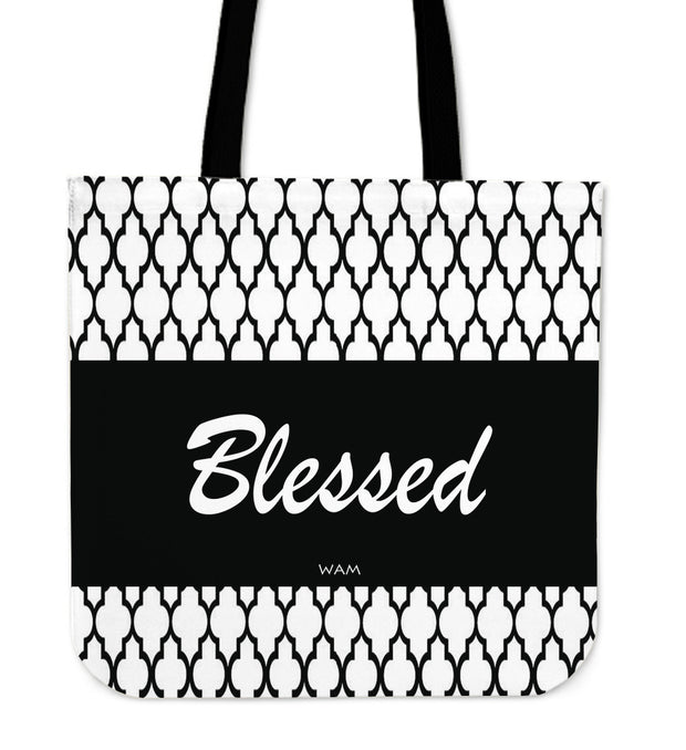 Blessed black moroccan design tote bag