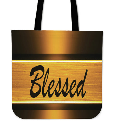Blessed gold tote bag