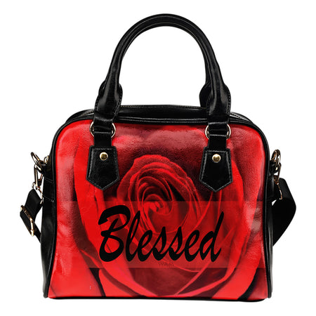 Blessed red and black leather shoulder handbag