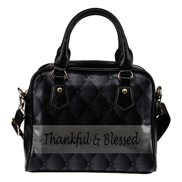 Thankful and blessed black and gray leather shoulder handbag