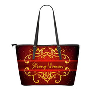 FREE SHIPPING! Strong woman gold and red small leather tote bag