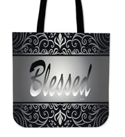 Blessed silver and black tote bag