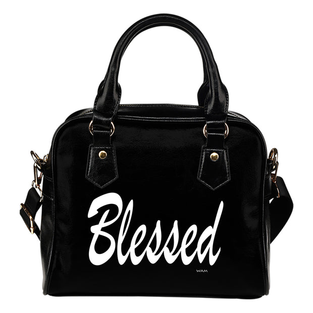 blessed black and white leather shoulder handbag