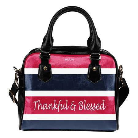 Thankful and blessed blue and pink leather shoulder handbag