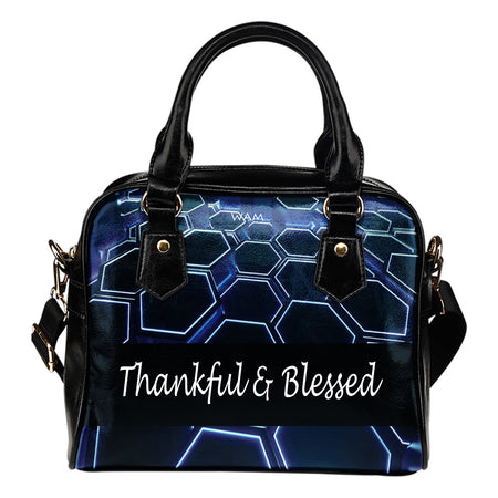 Thankful and blessed blue and black leather shoulder handbag