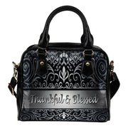 thankful and blessed silver flower leather shoulder handbag