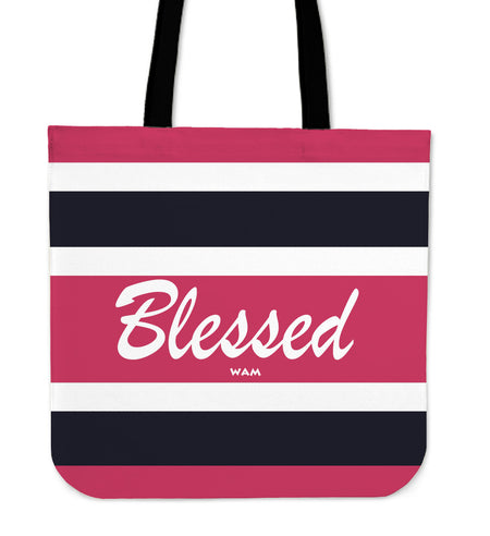 Blessed pink, white and blue tote bag