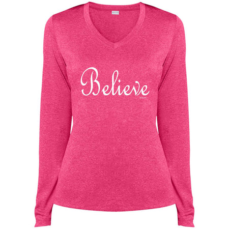 I believe!  LST360LS Sport-Tek Ladies' LS Heather Dri-Fit V-Neck T-Shirt