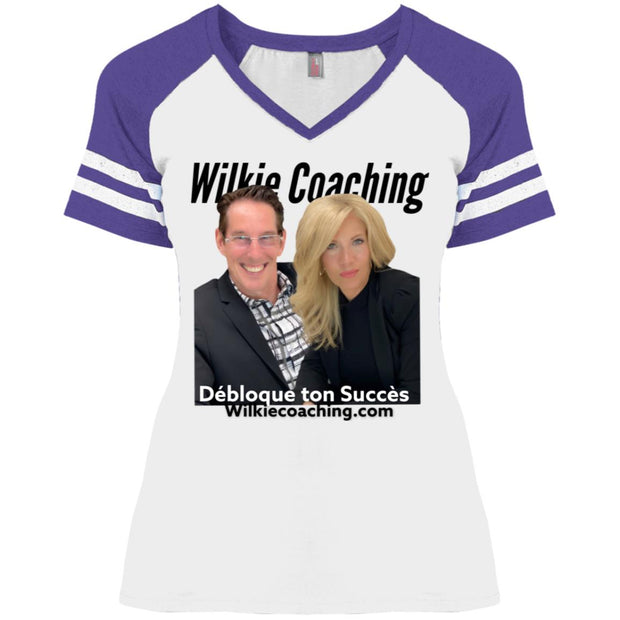 WILKIE PHOTO DM476 Ladies' Game V-Neck T-Shirt