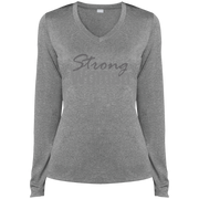 strong woman! LST360LS Sport-Tek Ladies' LS Heather Dri-Fit V-Neck T-Shirt