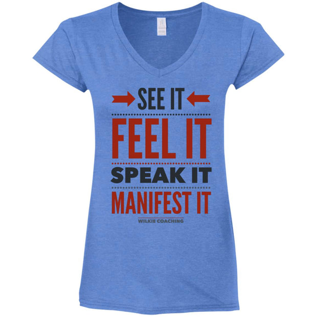 see it feel it speak it! G64VL Ladies' Fitted Softstyle 4.5 oz V-Neck T-Shirt