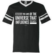 law of universe 360 V-Neck Sleeve Stripe T-Shirt